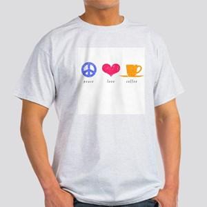 Peace, Love and Coffee Ash Grey T-Shirt