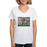 Lilies / Keeshond Women's V-Neck T-Shirt