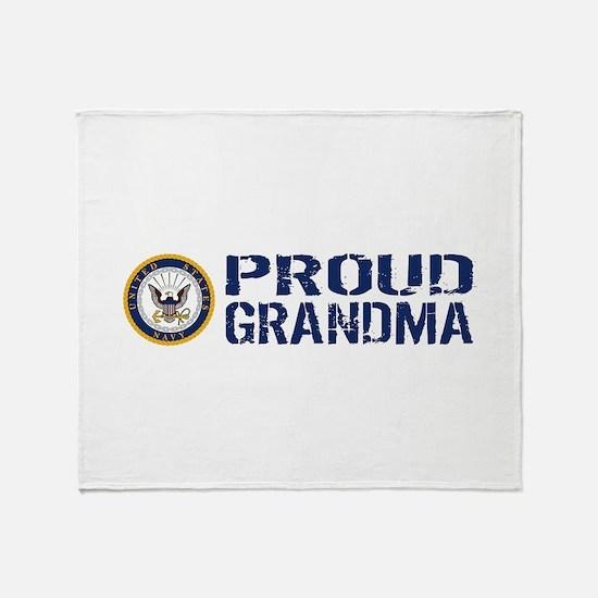 U.S. Navy: Proud Grandma (Blue & Whi Throw Blanket