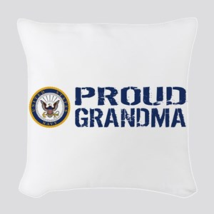 U.S. Navy: Proud Grandma (Blue Woven Throw Pillow