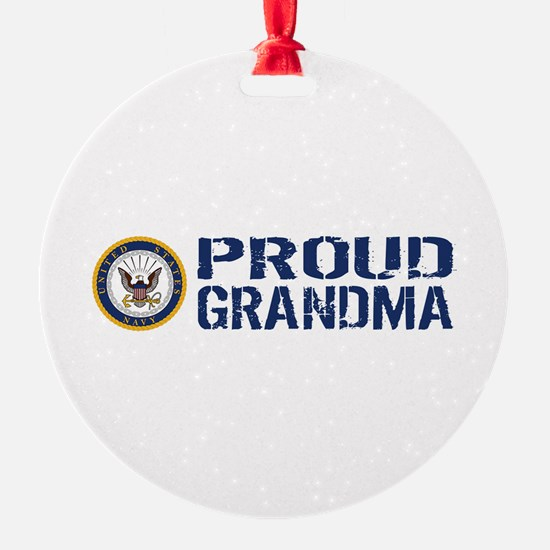 U.S. Navy: Proud Grandma (Blue & Wh Ornament