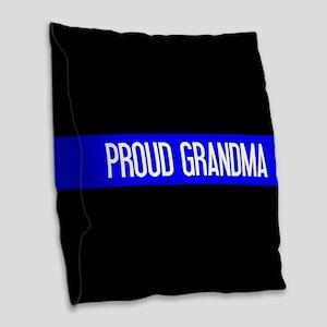 Police: Proud Grandma (The Thi Burlap Throw Pillow