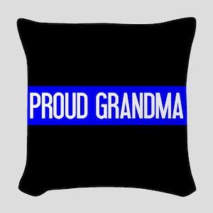 Police: Proud Grandma (The Thi Woven Throw Pillow