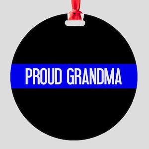 Police: Proud Grandma (The Thin Blu Round Ornament