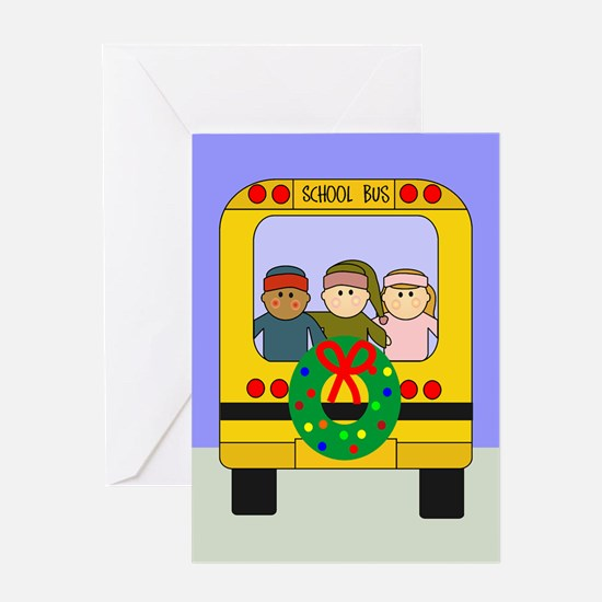 School Bus Christmas Greeting Card