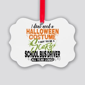 School Bus Driver Halloween Picture Ornament