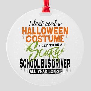School Bus Driver Halloween Round Ornament