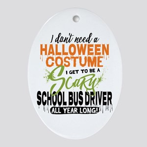 School Bus Driver Halloween Oval Ornament