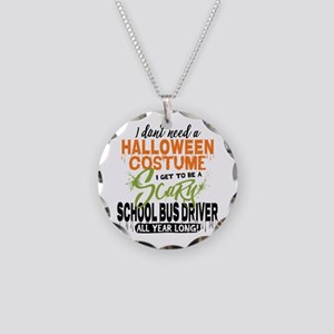 School Bus Driver Halloween Necklace Circle Charm