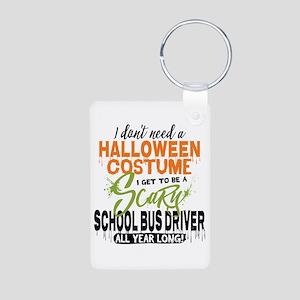 School Bus Driver Hallowee Aluminum Photo Keychain