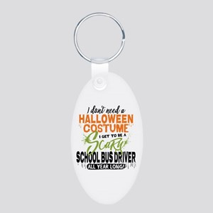 School Bus Driver Halloween Aluminum Oval Keychain