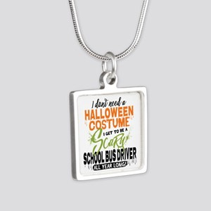 School Bus Driver Hallowee Silver Square Necklace