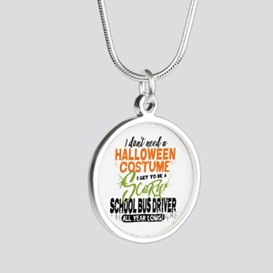 School Bus Driver Halloween Silver Round Necklace