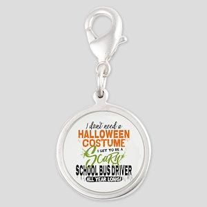 School Bus Driver Halloween Silver Round Charm