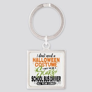 School Bus Driver Halloween Square Keychain