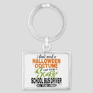 School Bus Driver Halloween Landscape Keychain