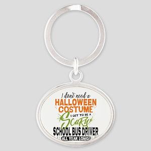 School Bus Driver Halloween Oval Keychain