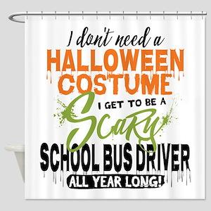 School Bus Driver Halloween Shower Curtain
