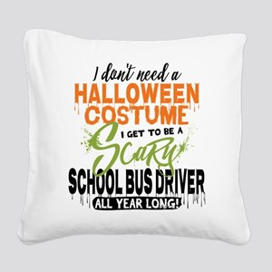 School Bus Driver Halloween Square Canvas Pillow