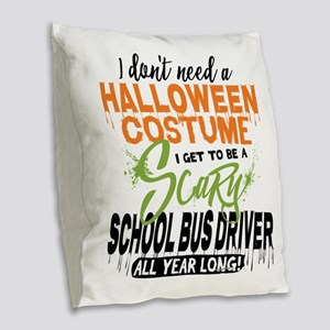 School Bus Driver Halloween Burlap Throw Pillow