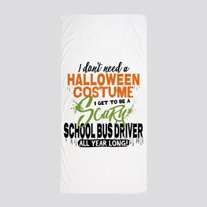 School Bus Driver Halloween Beach Towel