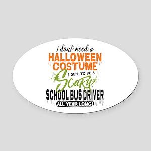 School Bus Driver Halloween Oval Car Magnet
