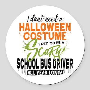 School Bus Driver Halloween Round Car Magnet