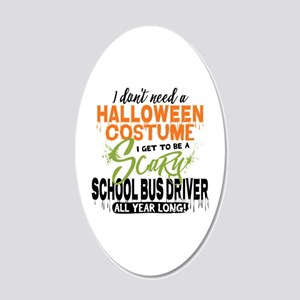 School Bus Driver Halloween 20x12 Oval Wall Decal
