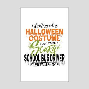 School Bus Driver Halloween Mini Poster Print