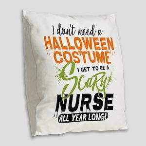 Nurse Halloween Burlap Throw Pillow