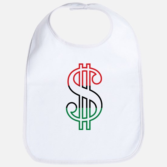 Red, Black and Green Dollar Sign Bib