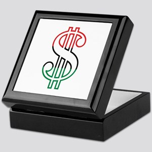 Red, Black and Green Dollar Sign Keepsake Box