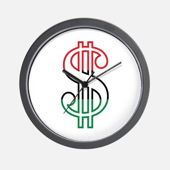 Red, Black and Green Dollar Sign Wall Clock