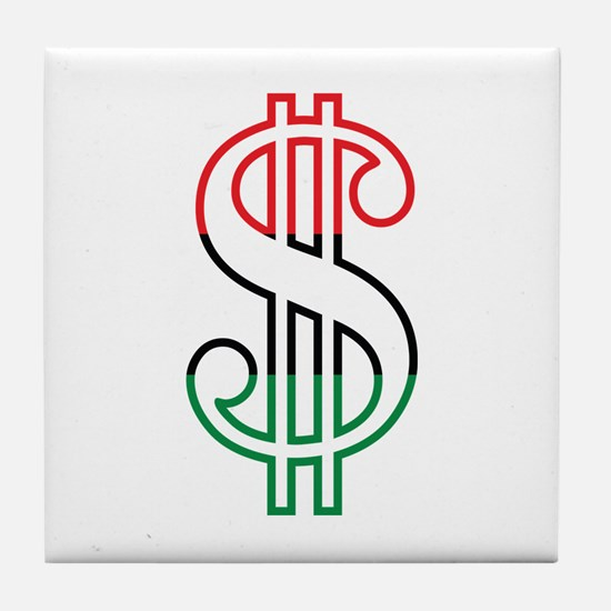 Red, Black and Green Dollar Sign Tile Coaster