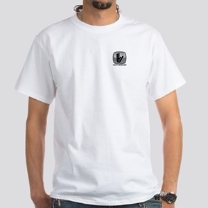 White Shocker Logo T-Shirt Front & Back
