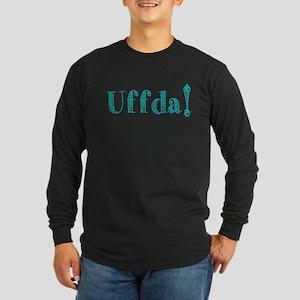 Uffda turquoise text Long Sleeve T-Shirt