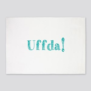 Uffda turquoise text 5'x7'Area Rug