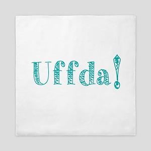 Uffda Turquoise Text Queen Duvet