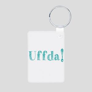Uffda Turquoise Text Keychains