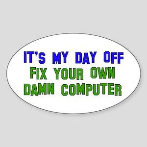 Won't Fix Computer Oval Sticker