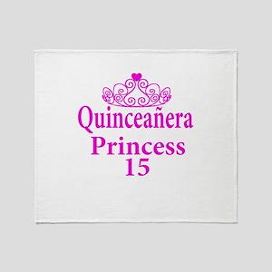 15th Birthday Quinceanera Princess L Throw Blanket