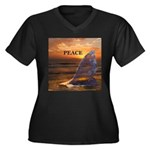 PEACE WHALES Women's Plus Size V-Neck Dark T-Shirt