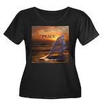 PEACE WHALES Women's Plus Size Scoop Neck Dark T-S