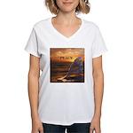 PEACE WHALES Women's V-Neck T-Shirt