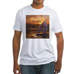 PEACE WHALES Fitted T-Shirt