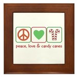 Peace Love Candy Canes Framed Tile