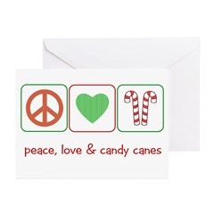 Peace Love Candy Canes Greeting Cards (Pk of 10)