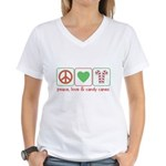 Peace Love Candy Canes Women's V-Neck T-Shirt