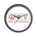 Peace Love Candy Canes Wall Clock