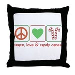 Peace Love Candy Canes Throw Pillow